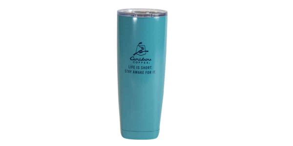 Light blue stainless steel tumbler, with dark blue Caribou logo and slogan