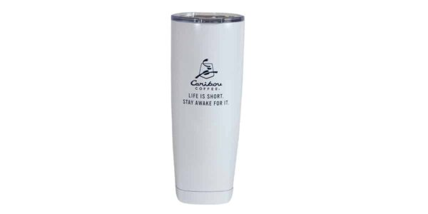 White stainless steel tumbler, with dark blue Caribou logo and slogan