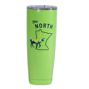 "Green tall stainless steel tumbler, with ""The North"" text over outline of Minnesota"