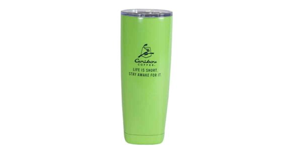 Green stainless steel tumbler, with black Caribou logo and slogan