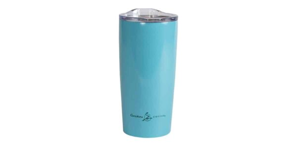 Light blue stainless steel tumbler with small Caribou logo