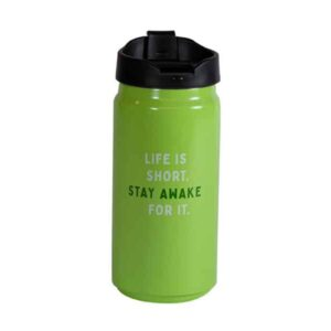 Short green tumbler with Caribou slogan
