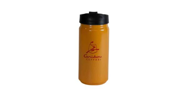 Short orange tumbler with Caribou logo