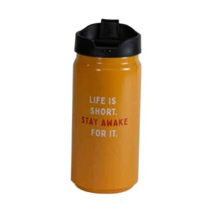 Short orange tumbler with Caribou slogan