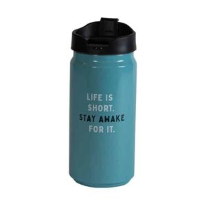 Short blue tumbler with Caribou slogan