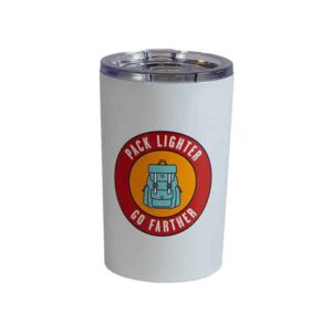 "Short white tumbler with ""Pack lighter. Go farther."" text"