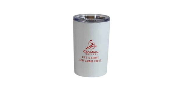 Short white tumbler with Caribou logo and slogan