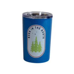 "Short blue tumbler with ""Born in the north"" text surrounding evergreens"