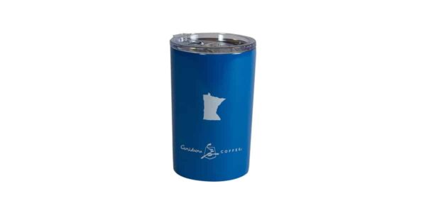 Short blue tumbler with white state of Minnesota above Caribou logo