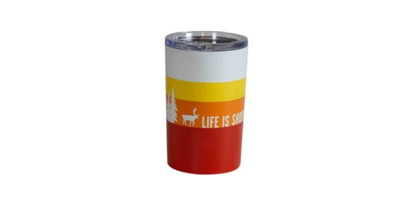 Red, orange, yellow and white striped tumbler with Caribou slogan