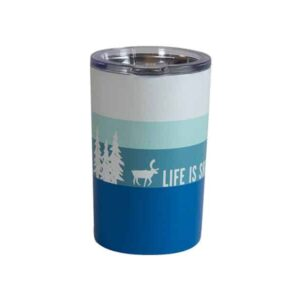 Shades of blue striped short tumbler with Caribou slogan