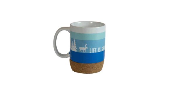 Shades of blue striped mug, with cork bottom, with Caribou slogan