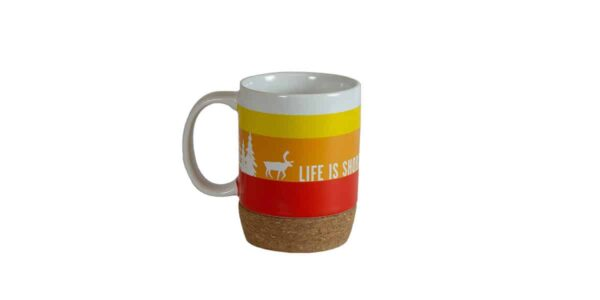 Red/orange/yellow/white striped mug, with cork bottom, with Caribou slogan