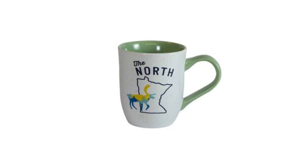 "White mug, with green interior, and ""The North"" text above Minnesota outline"