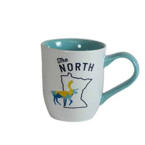 "White mug, with blue interior, and ""The North"" text above Minnesota outline"