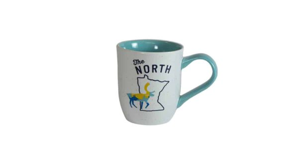 """White mug, with blue interior, and """"The North"""" text above Minnesota outline"""