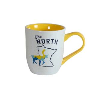 "White mug, with yellow interior, and ""The North"" text above Minnesota outline"