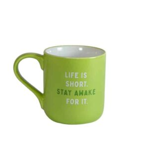 Green mug with white interior and Caribou slogan