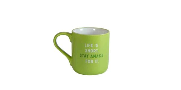 Green mug with white interior and Caribou slogan