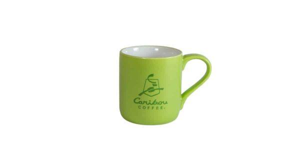 Green mug with Caribou logo