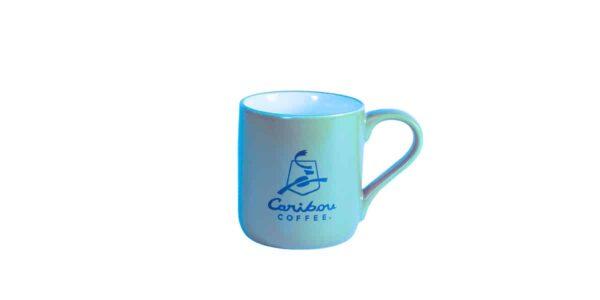 Blue Caribou mug showing company logo