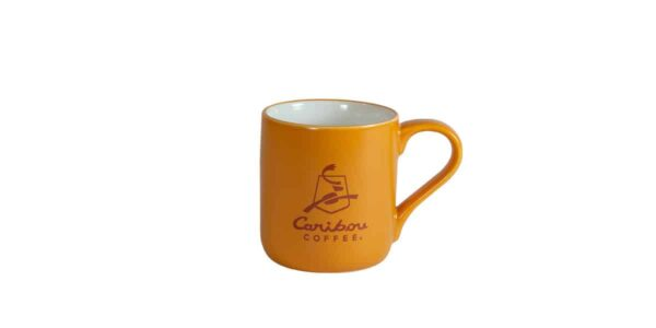 Orange mug with Caribou logo