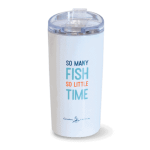 so many fish, so little time white and orange stainless tumbler