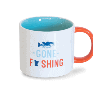gone fishing white and orange ceramic mug
