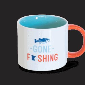gone fishing white and orange ceramic mug