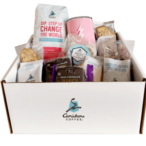 amys blend gift set - includes 1 coffee, 1 tumbler, 2 biscotti, 2 chocolate covered grahams, 2 shortbread cookies, 1 white chocolate covered pretzels