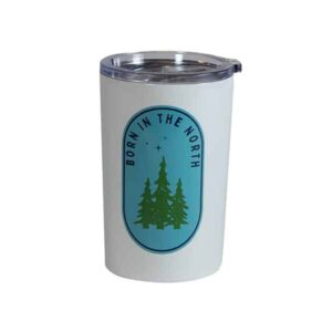 "Caribou white tumbler, showing ""Born in the North"" graphic"