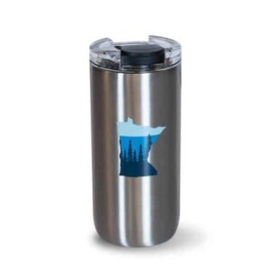 Tall Stainless 16oz - front with blue State of MN icon