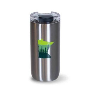 Tall Stainless 16oz - front with green State of MN icon