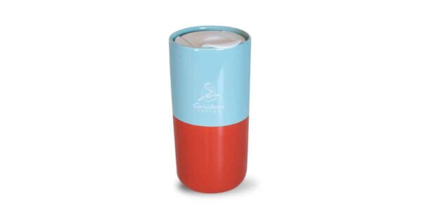 red and blue half and half tumbler front with caribou logo