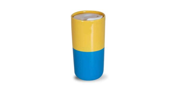 yellow and bright blue half and half tumbler back plain