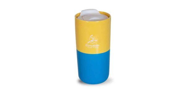 yellow and bright blue half and half tumbler front with white caribou logo