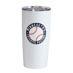 MN Baseball stainless white tumbler