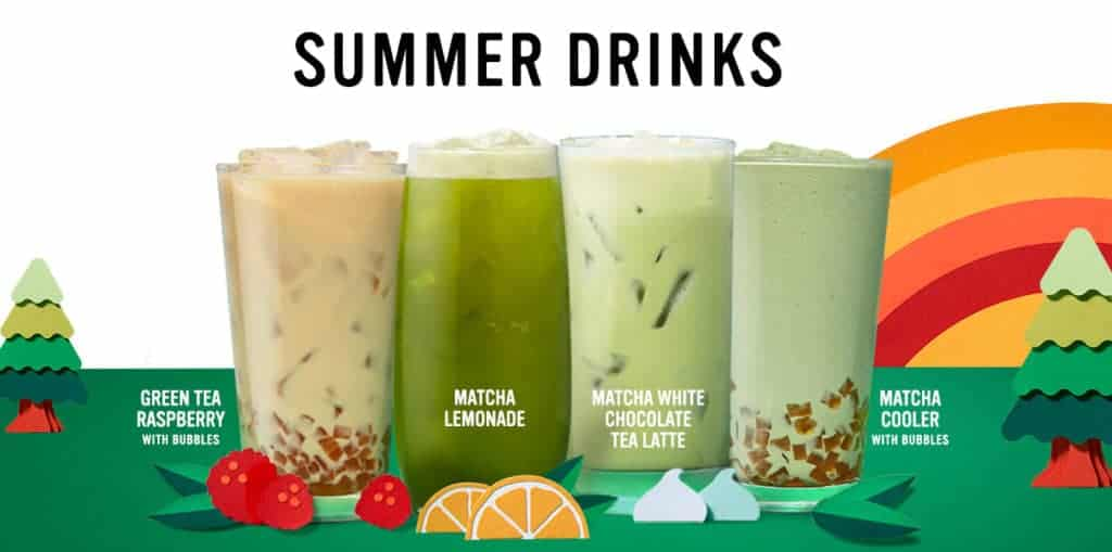 Summer drinks include Raspberry Green Tea with bubbles, Matcha Lemonade, Matcha White Chocolate Tea Latte, and Matcha Cooler with bubbles