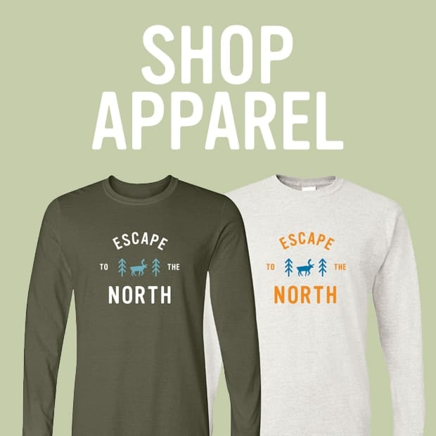 "shop apparel category showing long sleeve ""Escape the North"" tee shirts"