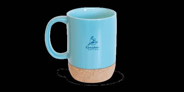Ceramic mug with cork bottom, blue