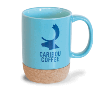Ceramic mug with cork bottom, blue