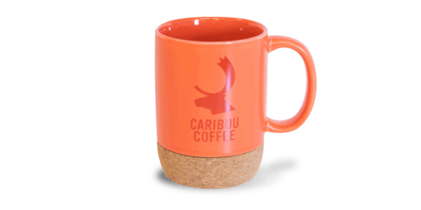 Ceramic mug with cork bottom, orange