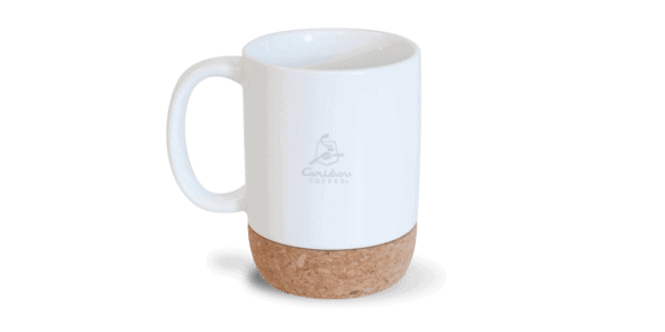 Ceramic mug with cork bottom, white