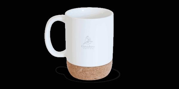 Ceramic mug with cork bottom, white