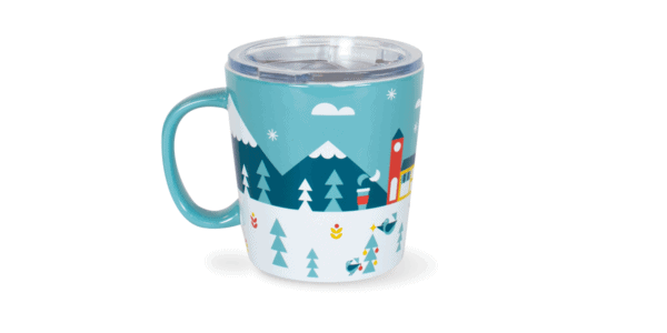 Caribou Holiday Foil Ceramic Mug Back