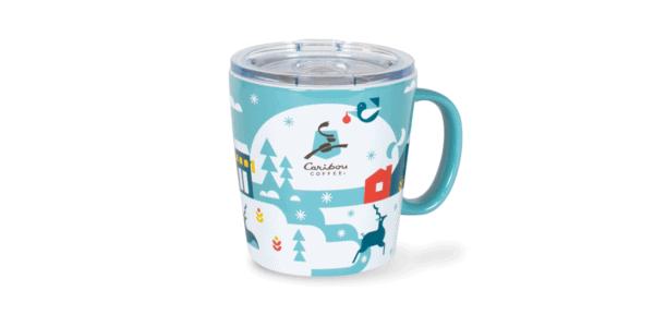 Caribou Holiday Foil Ceramic Mug Front