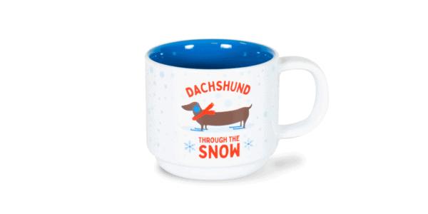 Dachshund Through the Snow Festive 10oz Ceramic Mug Front