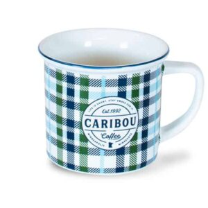 Fall Caribou Est 1992 Mug, All Over Plaid