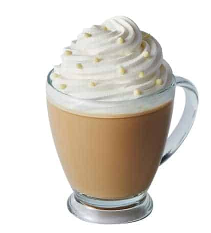 pumpkin white mocha from Caribou Coffee with fresh whipped cream, real white chocolate chips, espresso and your choice of milk