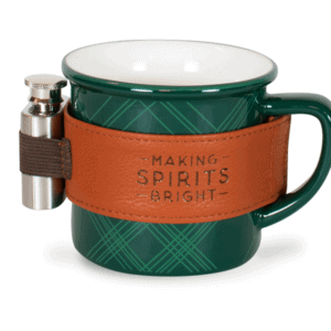 Plaid Ceramic 12 oz Mug with Flask, Green